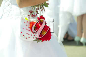 Bridal handbag with red poppy flowers