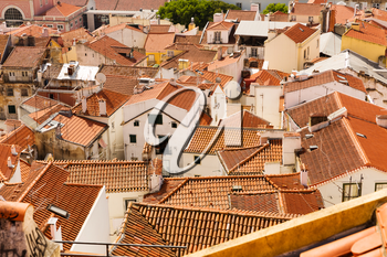 Panoramic view of european city roofs, Portugal