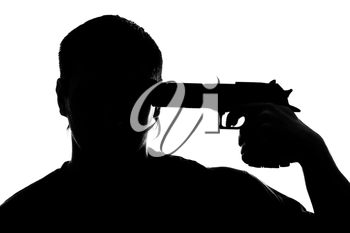 Silhouette of man shooting himself. Isolated on white