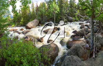 Panoramic view of stormy mountain river at Estes Park, Colorado US