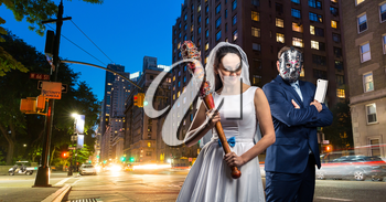 Maniac couple with bloody bat and meat cleaver in night city. Groom in hockey mask