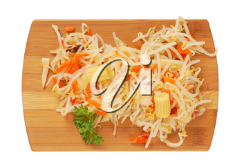 salad of bean sprouts, carrot, bamboo shoots and baby corn