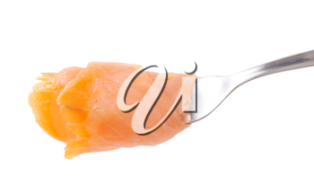 Slice of smoked salmon on fork