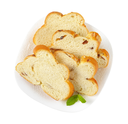 slices of Christmas sweet braided bread with almonds and raisins