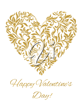 Card - Happy Valentine's day! Heart created of flowers with gold glitter