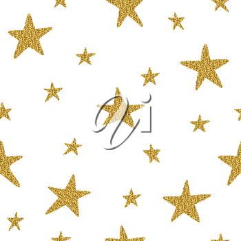 Seamless pattern with golden stars isolated on a white background. It can be used for printing on fabric, wallpaper, wrapping