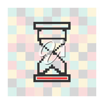 Vector pixel icon hourglass on a square background.