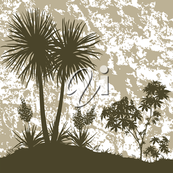 Tropical Landscape, Palms Trees, Yucca Flowers, Castor Bush and Grass Brown Silhouettes on Abstract Grunge Background. Vector