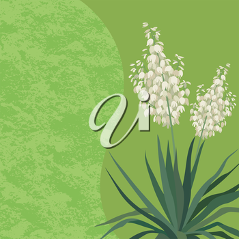 Floral Background with Yucca Flowers and Leaves and Abstract Pattern. Vector