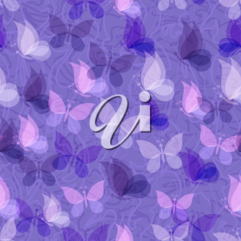 Seamless Pattern, Transparent Butterflies on Abstract Background. Eps10, Contains Transparencies. Vector