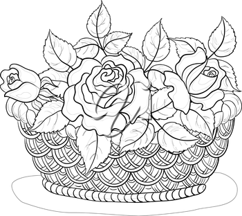 Wattled basket with flowers roses and leaves, black contours isolated on white background. Vector