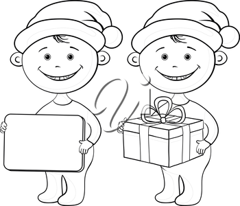 Cartoon children in a Santa Claus hats with a holiday gift box and plate, black contour on white background. Vector