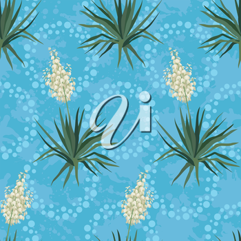 Seamless floral background, Yucca flowers and abstract blue pattern with rings. Vector