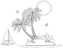 Tropical Sea Island with Palm Trees and Exotic Flowers, Ship, Butterflies and Sun, Set Black Contours on white Background. Vector