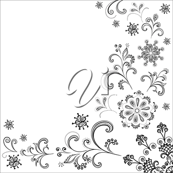 Floral pattern, black symbolical contour flowers on white background. Vector