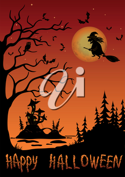 Holiday Halloween Landscape, Witch Flying on Broom Over Forest and Marsh With Castle Mushroom, Black Silhouette Against Tree With Owl, Bats And Moon in Sky. Element of Image Furnished by NASA. Vector