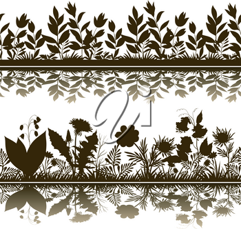Horizontal Seamless Pattern, Summer and Spring Landscape, Flowers and Grass Silhouettes and Reflection in Water or Shadow, Isolated on White Background. Vector