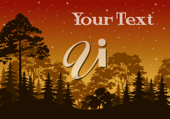 Night Landscape, Forest, Coniferous and Deciduous Trees Silhouettes, Orange Sky with Stars. Vector