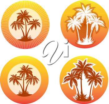 Tropical Landscape with Palms Trees Silhouettes on Background with Circle and Beams. Icons, Logo or Labels.