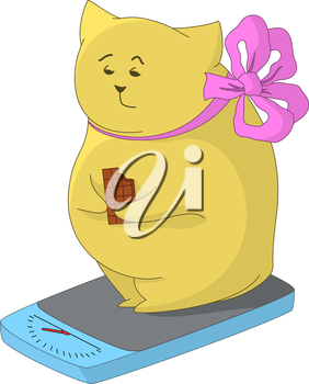 Cartoon fat animal weigh yourself on the scale and eat chocolate, feel the pain of their excess weight. Vector