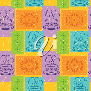 Seamless background, cups with a hot drink and rectangles with floral pattern. Vector