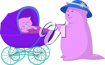 Mother rolling before herself a pram with a baby, which sucking a dummy and sleeping