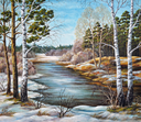 Picture oil paints on a canvas, landscape: the spring Siberian river