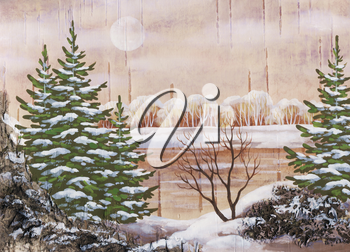 Picture, winter natural landscape. Handmade, drawing distemper on a birch bark