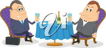 Two respectable men sitting near the table and raising a toast, celebrating a successful transaction, funny cartoon illustration, isolated on white background. Vector