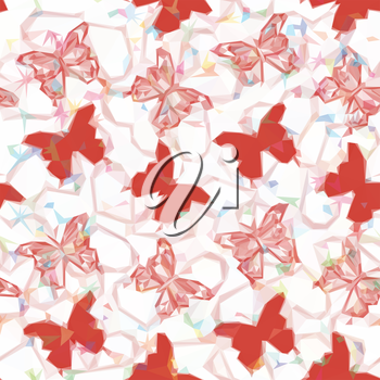 Background with Red Colorful Butterflies Silhouettes, Low Poly Pattern. Vector