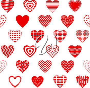Valentine seamless with pictogram hearts, abstract background pattern, symbol of love. Vector
