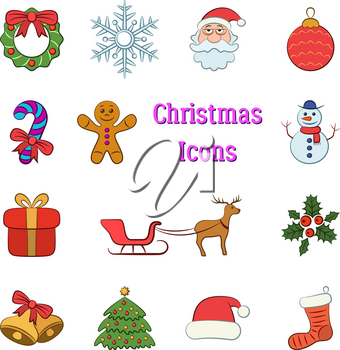 Set Cartoon Objects, Colorful Signs for Christmas Holiday Design. Vector