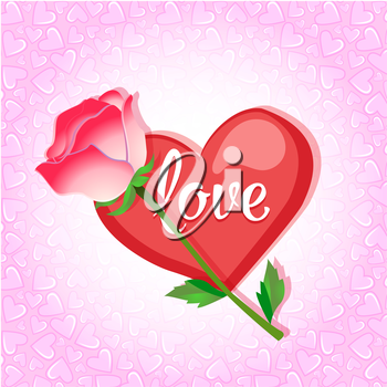 Greeting card with heart and rose on a pink background