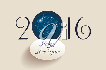 Happy New Year 2016 greeting card. Starry sky