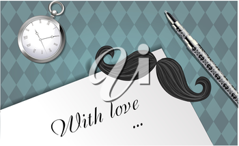 Greeting card with a bookmark in the form of a mustache and the words with love
