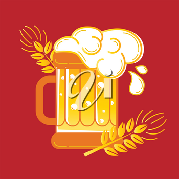 Icon glass of beer and barley as  beer emblem.