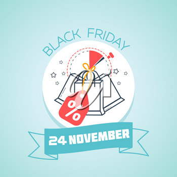 Calendar for each day on november 24. Greeting card. Holiday - black Friday. Icon in the linear style