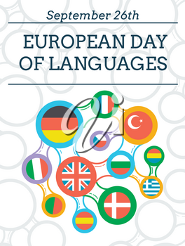 Greeting card - European Day of Languages, september26. concept of language learning