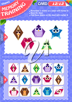 Memory game children. learning of geometry shapes. Memory training