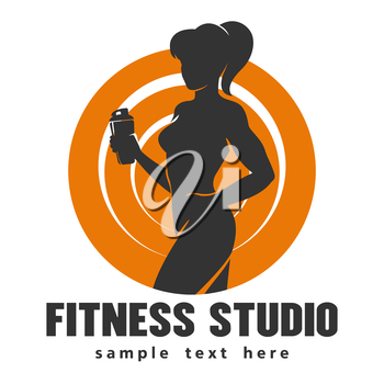 Hot sexy athletic girl bodybuilder holds shaker and sample text below over white background.
