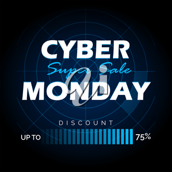 Sale banner for cyber monday. Vector Illustration.