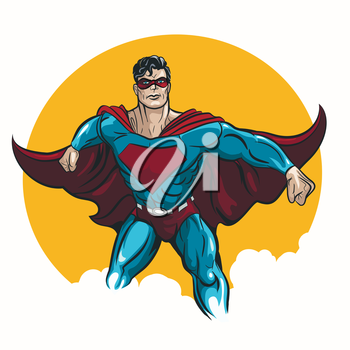 Superhero standing with cape waving in the wind. Illustration in comic book style.