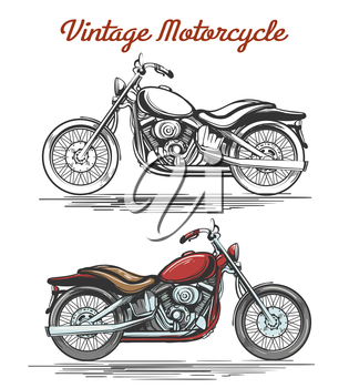 Vintage Motorcycle Set. Hand-drawn Colorful and Monochrome retro motorcycles isolated on white. Vector illustration.