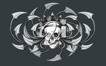 Skull in Crown on a Razor leaves ornament background drawn in tattoo style. Vector illustration