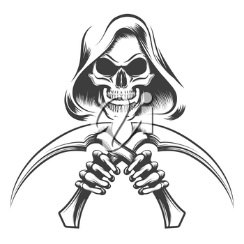 Skull in a hood with scythe knives in hands drawn in tattoo style. Vector illustration.