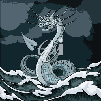 Illustration of sea dragon floating in the sea drawn in cartoon style