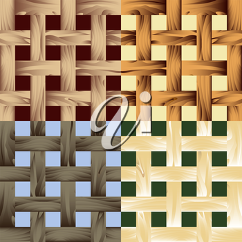 Set of wooden seamless patterns drawn in fore different color variations. Each variation contains pattern and separated background