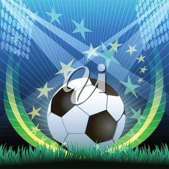 Illustration of soccer ball on a grass against stadium arena and flying stars