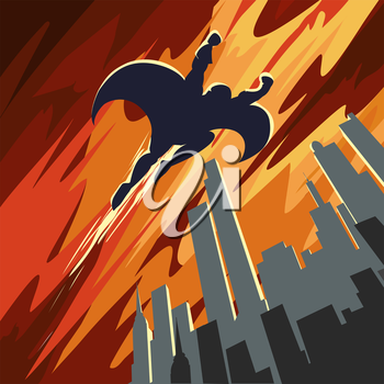 Superhero flying in the sky over night city. Retro Poster style.