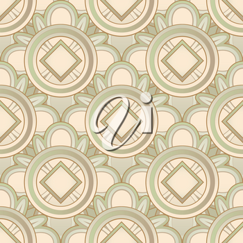 Sepia seamless medieval pattern with ethnicity motif. Vector illustration.